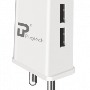 Plugtech 2.4A Dual Port USB Charger With Cable (White)